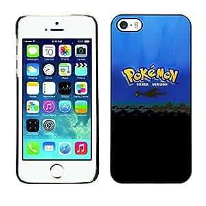 P0kemon Plata - Metal de aluminio y de plástico duro Caja del teléfono - Negro - iPhone 5 / 5S