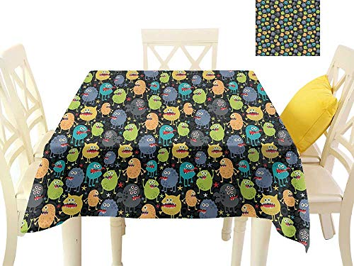 funkky Flow Spillproof Fabric Tablecloth Cute Funny Characters Cartoon Style Halloween Themed Monsters Abstract Background W63 x L63, for Kitchen Dinning Tabletop Decoration -