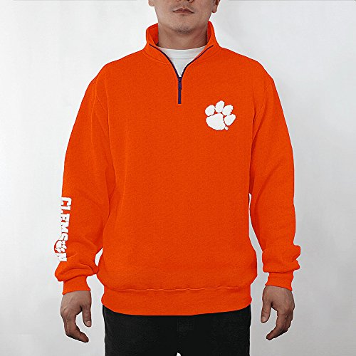 Elite Fan Shop Top of The World Clemson Tigers Men's Quarter-Zip Pullover Applique Icon, Orange, Medium