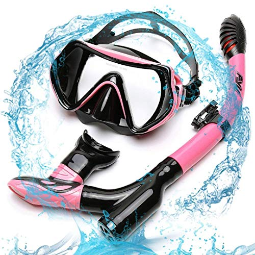Diving Snorkel Set FYU with Diving Mask Tempered Glass, Dry Snorkel Set with Carry bag and Anti-Fog Lens for Adult Womens Mens(PINK-BLACK, DOUBLE DRAINAGE)(X10B粉黑)