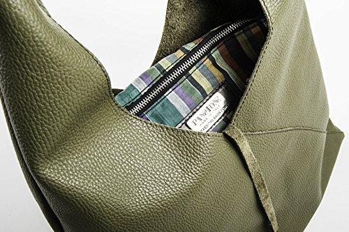 New Francesca - Borsa a sacca in pelle color Verde Bosco - PassioneBags - Made in Italy