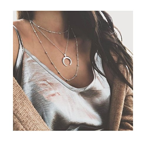 Eoumy Triple Layer Clavicle Beads Chain Choker Necklace Moon Horn Pendant Necklace for Women