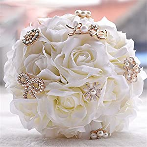 USIX Handmade Romantic Silk Rose LOVE Brooch Bridal Holding Wedding Bouquet,Satin Ribbons Decorated Bouquet, Wedding Flower Arrangements Bridesmaid Bouquet 119