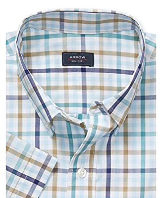 Arrow 1851 Men's Hamilton Poplins Short Sleeve Button Down Plaid Shirt