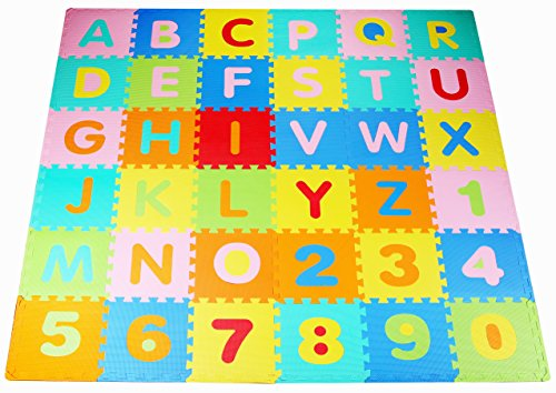 BalanceFrom Kid's Puzzle Exercise Play Mat with EVA Foam Interlocking Tiles, Multi Color