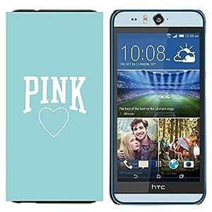 TECHCASE---Cubierta de la caja de protección para la piel dura ** HTC Desire Eye ( M910x ) ** --corazón azul bebé de color rosa el amor de texto limpio