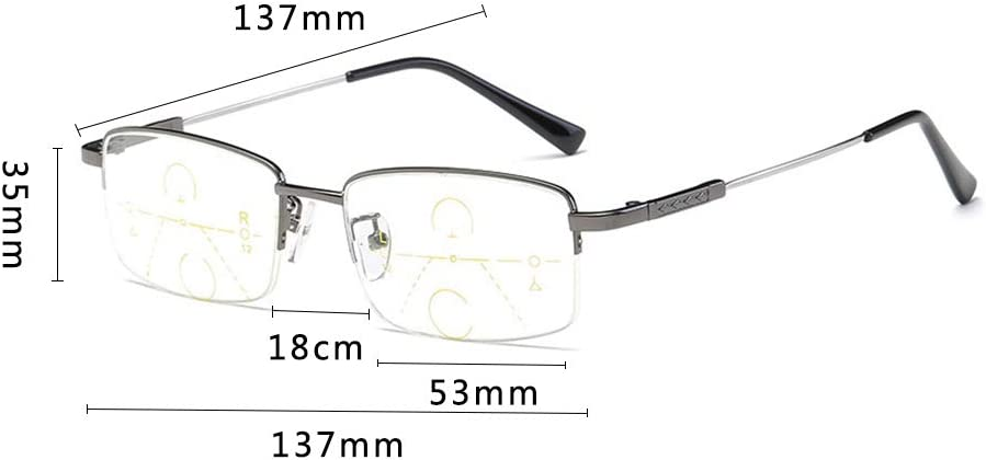 YUANP Occhiali da Lettura con Zoom Intelligenti Miopia Maschio Luce Anti-Blu Lontano E Vicino alla Miopia Occhiali da Lettura A Luce Anti-Blu Multi-Focus,2-+2.5 2-+1.5