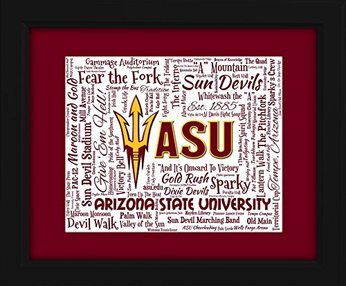 Arizona State University 16x20 Art Piece - Beautifully matted and framed behind - Arizona Mills Tempe