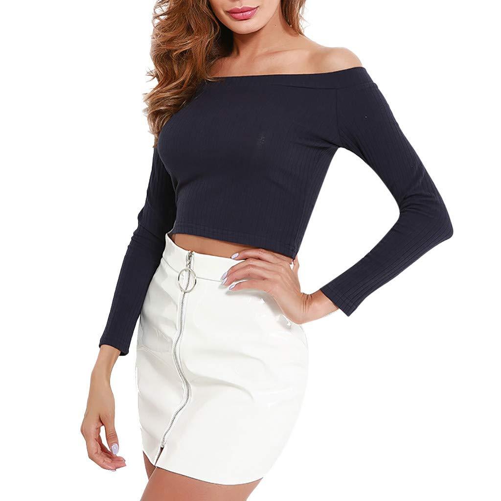 e79d6897238 Amazon.com  KFSO Womens Off Shoulder Slim Long Sleeve Tops Striped Crop  Blouse Short Solid T-Shirt (L