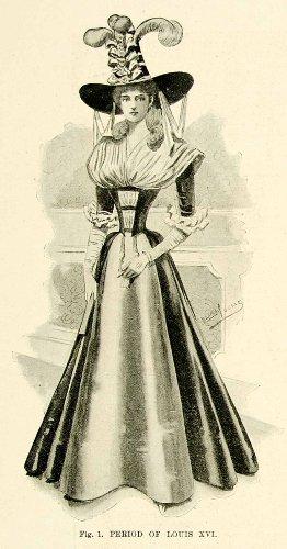 1895 Costumes (1895 Print Antique Victorian Masquerade Fancy Dress Costume Louis XVI Fashion - Original Halftone Print)