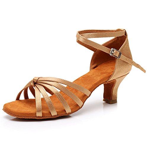 Salón de 217 de Alta de Zapatillas Baile Latino HROYL 5cm para Satén de LP Beige Zapatos de Mujer Baile Calidad q45TInnAwB