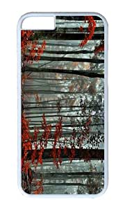 Forest trees autumn fog morning PC White Hard Case for Apple iPhone 6(4.7 inch)