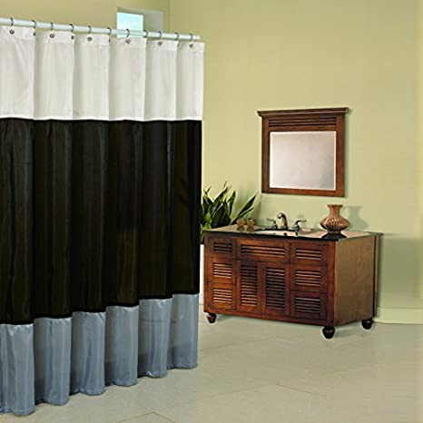 Black Silver and Cream 70 by 72-Inch Pur Luxe Regency Shower Curtain