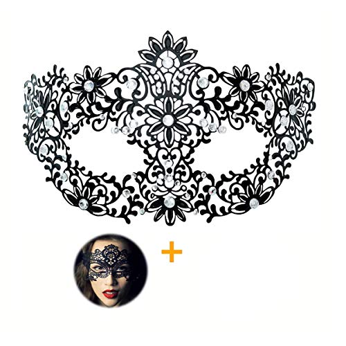 Masquerade Mask for Women Shiny Rhinestone Venetian Party Prom Ball Metal Mask (Bloom) -