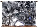 Steam Engine Train Picture on Canvas Hung on Copper Rod, Ready to Hang, Wall Art Décor