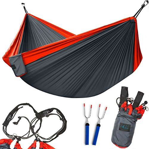 Lightweight Camping Hammock by Alfa-Comfort – XXL Double Size Two Person Nylon Hammock for Comfortable Swinging – Durable Parachute Hammock for Camping, Backpacking, Travelling, and Relaxing + Bonus