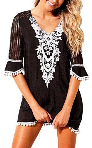 Sleeve V Beach Casual Tassel Dress Half Black Neck Alion Lace Women's Crochet 1wqSxBf