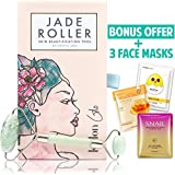 Jade Roller For Face | Facial, Neck, and Eye Massager Made of 100% Premium Authentic Jade Stone | Anti Aging Massage Therapy Beauty Tool Kit for Natural Glowing Skin - BONUS 3 Face Mask Sheets