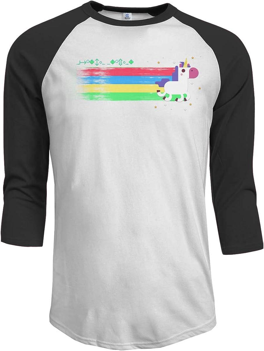 3//4 Long Sleeves Boys Jersey Tee Shirt Black MiiyarHome Mens Raglan Sleeves Baseball T-Shirts Unicorn Play