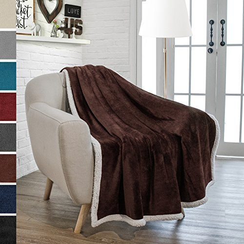 50' Fleece Throw Blanket (Premium Sherpa Throw Blanket by Pavilia | Super Soft, Cozy, Lightweight Microfiber, Reversible, All Season for Couch or Bed (50 x 60 inches, Brown))