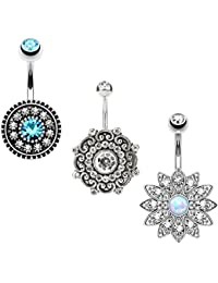 3PCS14G Stainless Steel CZ Opal Belly Button Rings Navel Barbell Piercing Body Jewelry Women