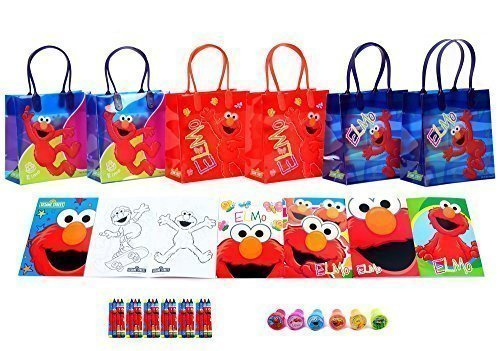 Sesame Street Elmo Party Favor Set - 6 Packs (42 Pcs) by GoodyPlus