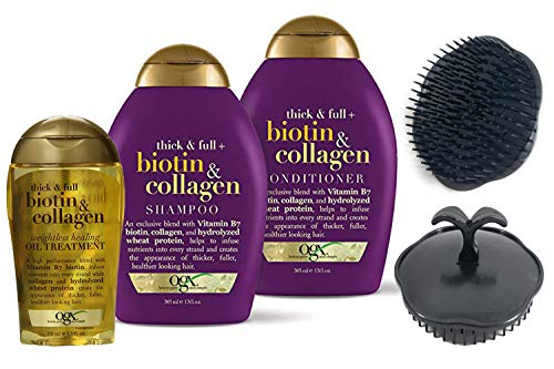 OGX Thick & Full + Biotin & Collagen Shampoo & Conditioner Set 13oz and Weightless Healing Oil Treatment 3.3oz, with Shampoo/Scalp Massager Brush (Colors May Vary)