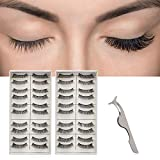 20 Pairs False Eyelashes with Lashes Applicator, Segbeauty 3D Reusable Handmade Fake Eyelashes Set for Natural Look Everyday Use Makeup Eyelashes Extension