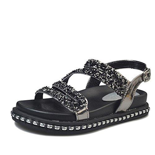 CHANCLAS SANDALS Versión coreana de las sandalias de las señoras del verano de los zapatos romanos del estudiante del diamante elegante ( Color : Blanco , Tamaño : EU36/UK3.5/CN35 ) Negro