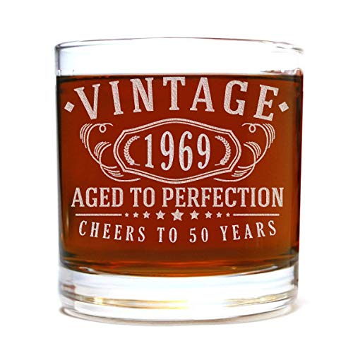 Vintage 1969 Etched 11oz Whiskey Rocks Glass - 50th Birthday Aged to Perfection - 50 years old gifts Bourbon Scotch Lowball Old Fashioned