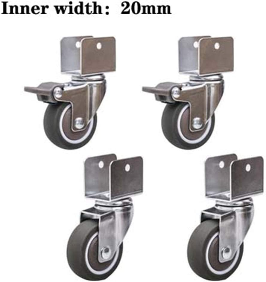 Gwgbxx General Mute Furniture Casters Caster With Brake Castors Color : C, Size : 20mm