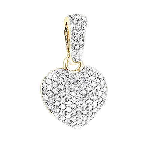 Ladies 14K Small Natural Pave Set 0.3 Ctw Diamond Heart Pendant For Her (Yellow Gold) 14k Pave Diamond Heart Pendant