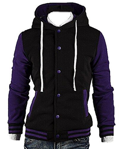 LeNG Men's Stitching with Hood Comfy Fleece Baseball Jacket Fashion PurpleUS Medium