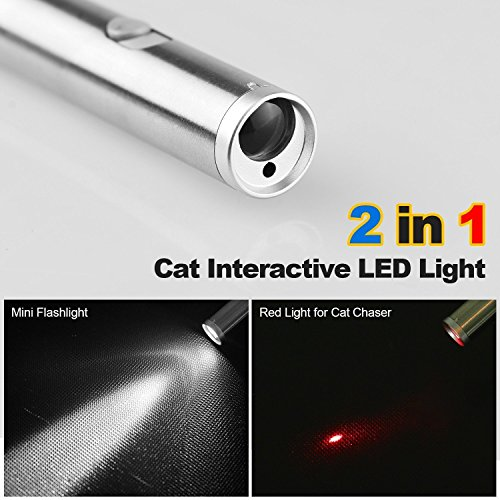 Innozon Pack of 2 Laser Pointer Chaser Toys for Cats, Powerd by 1 AA Battery, Interactive Toy with LED Flash Light for Pets, Cat Training Tools