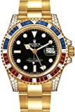 Rolex GMT Master II Yellow Gold Watch, Ruby/Sapphire/Diamond Bezel, Black Dial, Watch Central