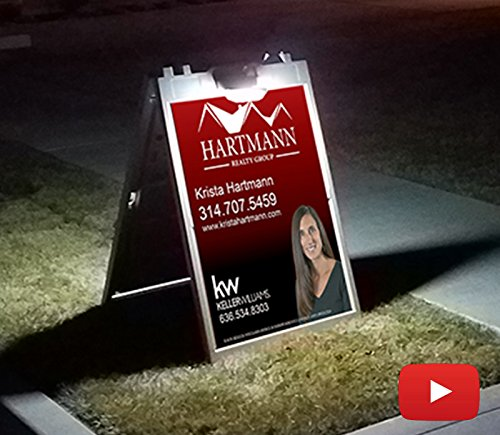 A Frame Sign with Solar Lights Sidewalk Sign Board for 24