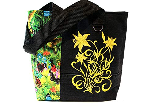 Tote Bag- Butterfly Garden- A recycled denim, embroidered, lined totebag. Eco-Friendly handbags.