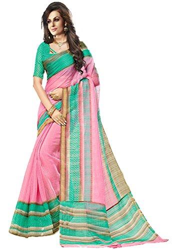Jaanvi Fashion Designer Pink Kora Silk Printed (Pink Saree)