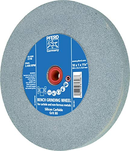 PFERD 61798 Bench Grinding Wheel, Silicon Carbide, 10'' Diameter, 1'' Thick, 1-1/4'' Arbor Hole, 80 Grit, 2485 Maximum rpm