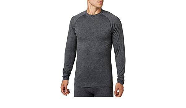 ae8fd09bd21 Amazon.com  Reebok Men s Cold Weather Compression Heather Crewneck Long  Sleeve Shirt (Dark Heather Grey