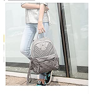 2017 Women Rivet PU Leather Backpack Women Fashion Backpacks for Teenage Girls Ladies Bag Satchel Bags Bolsa Feminina (ฺGray Color)