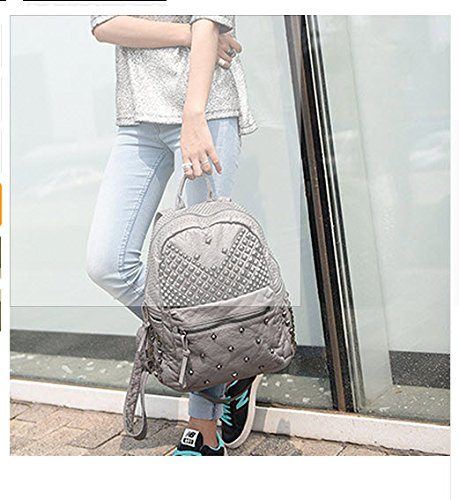 2017 Women Rivet PU Leather Backpack Women Fashion Backpacks for Teenage Girls Ladies Bag Satchel Bags Bolsa Feminina (ฺGray - Prime North Carolina Outlets