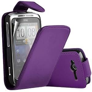 ONX3 HTC Wildfire S PREMIUM PU púrpura del caso del tirón del cuero + X3 Protector de pantalla Guardia
