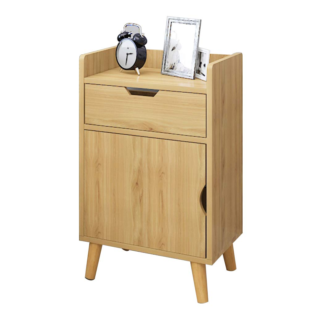 Wood-G As shown Tingting Simple Drawer with Door Economic Type Bedside Wood-Based Panel Four-Corner Support 7 Styles to Choose from (color   White-H, Size   As Shown)