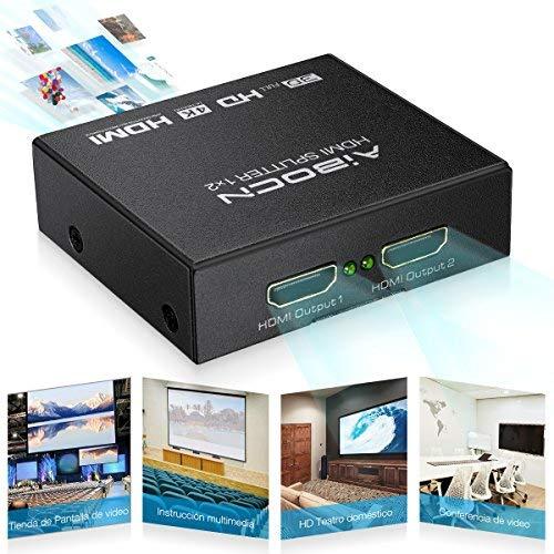 Aibocn HDMI Splitter 1x2, Divisor Splitter 4K 1080P HD 3D HDMI para TV/PS4/PS3/XboX/DVD BLU-Ray,Color Negro