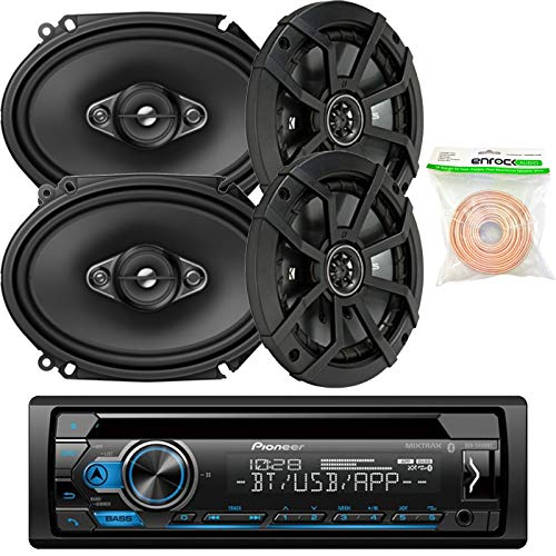 Pioneer DEHS4100BT Single-DIN CD Player Bluetooth Receiver, 2 x Kicker 43CSC654 600W 6.5