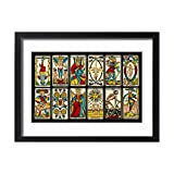 Framed 24x18 Print of Selection of tarot cards from traditional Marseille pack (573068)
