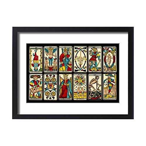 Framed 24x18 Print of Selection of tarot cards from traditional Marseille pack (573068) by Prints Prints Prints