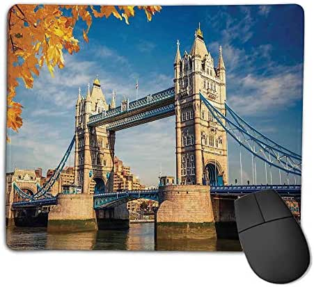 Mouse Pad Non-Slip Thick Rubber Large MousepadLondon,Historical Construction Tower Bridge with Mossy Abutments Autumnal Leaves,Yellow Blue Ivory,Suitable for Notebook Desktop Computers,Mouse Pad wa