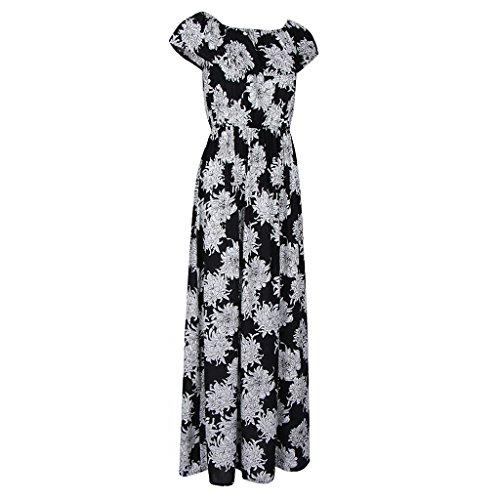 Magideal Vestido Largo Maxi Impresión Floral Sin Tirantes Verano Mujeres Club de Noche Regreso a Casa negro 2